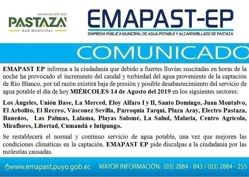 #Comunicado# EMAPAST EP Informa A La Ciudadanía