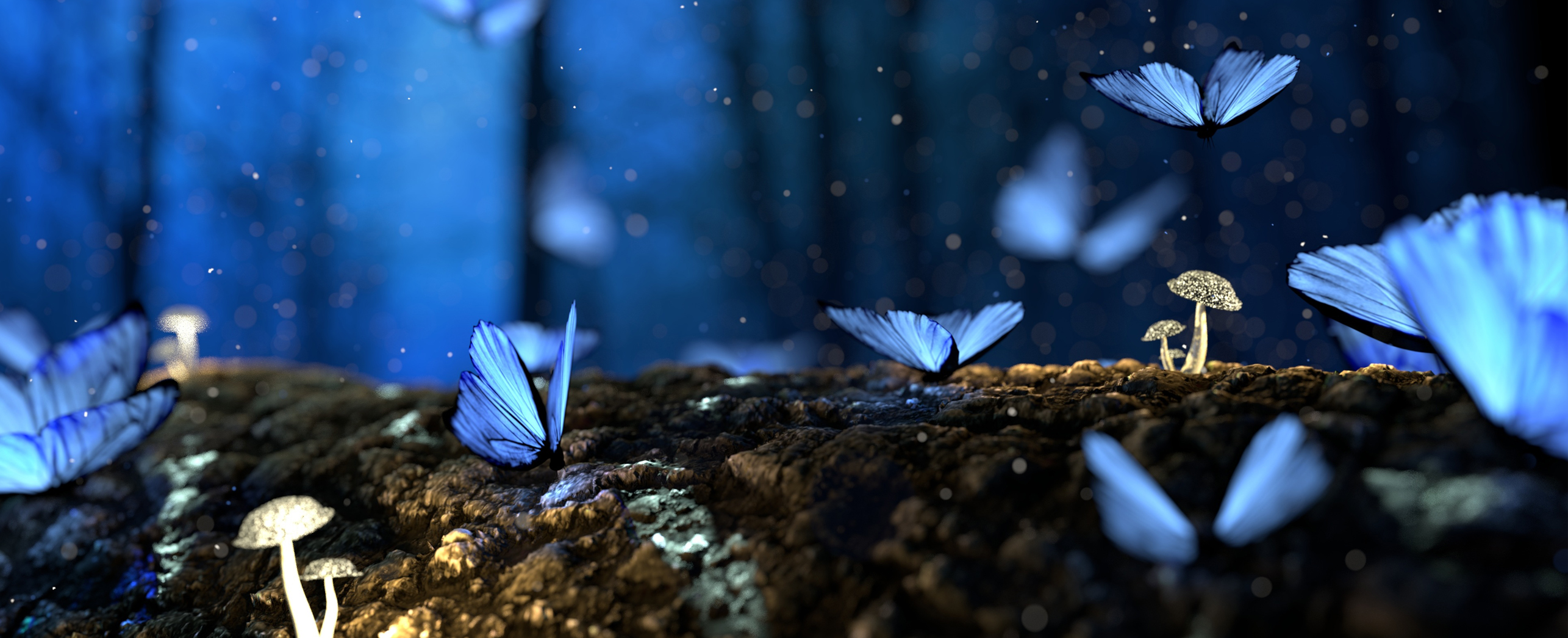 Blue butterflies on a log with flowing mushrooms