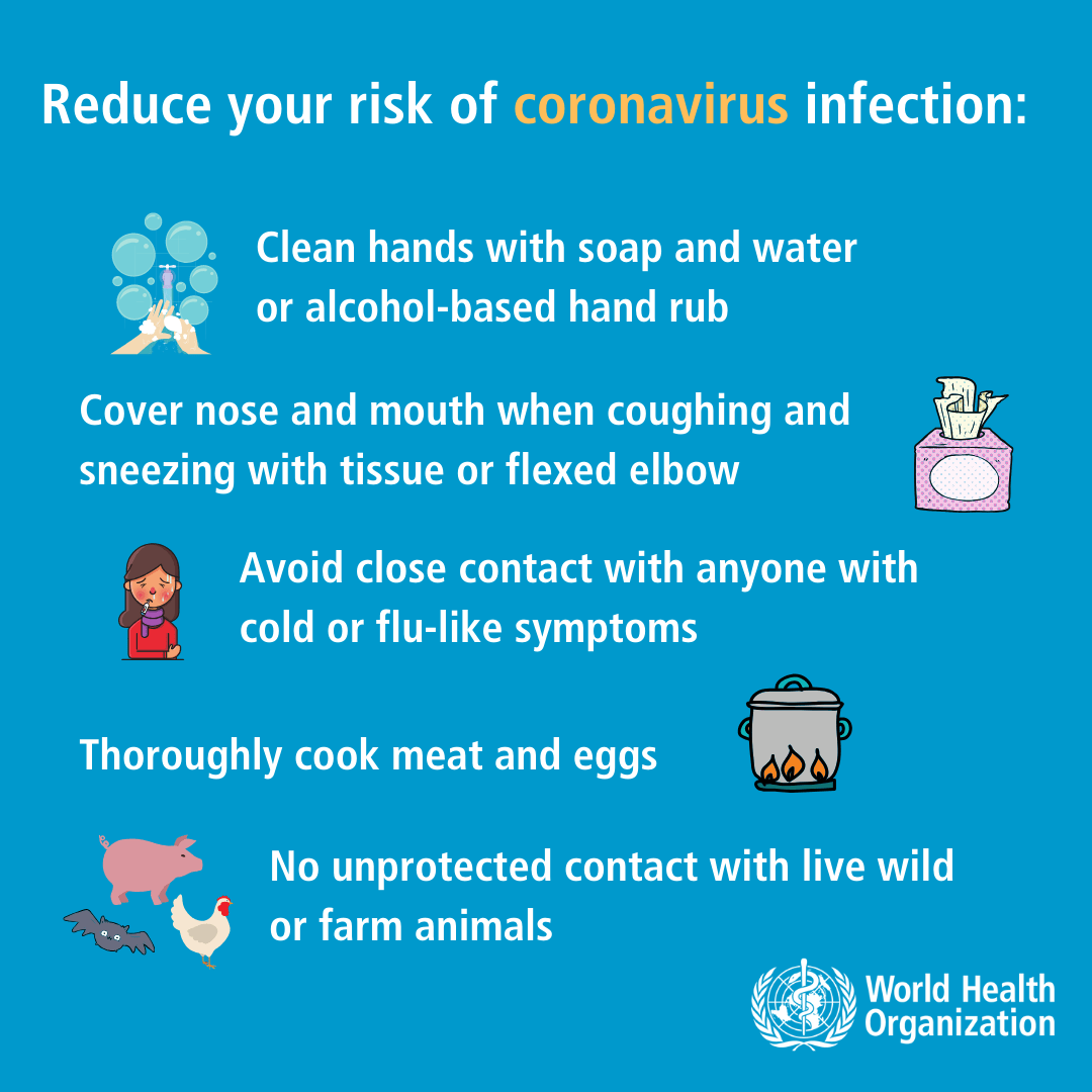 Reduce your risk of coronavirus infection