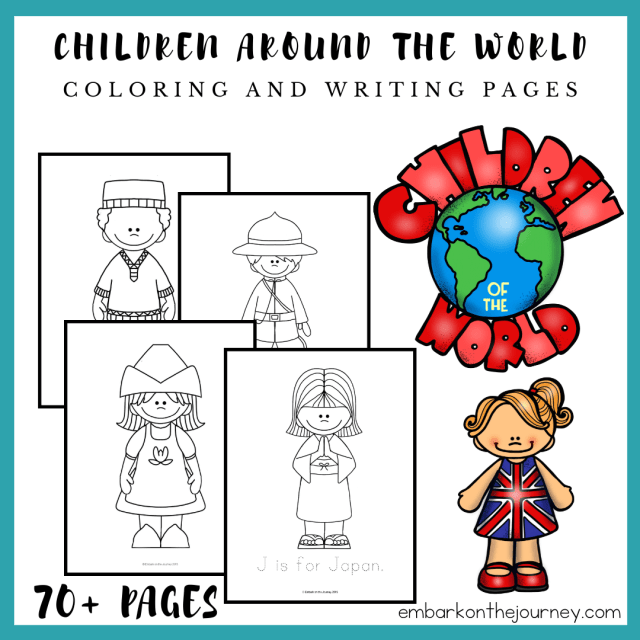 Children Around the World Coloring and Writing Pages