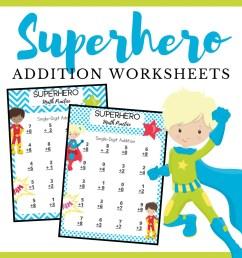 Free Printable Superhero Addition Worksheets [ 1080 x 1080 Pixel ]