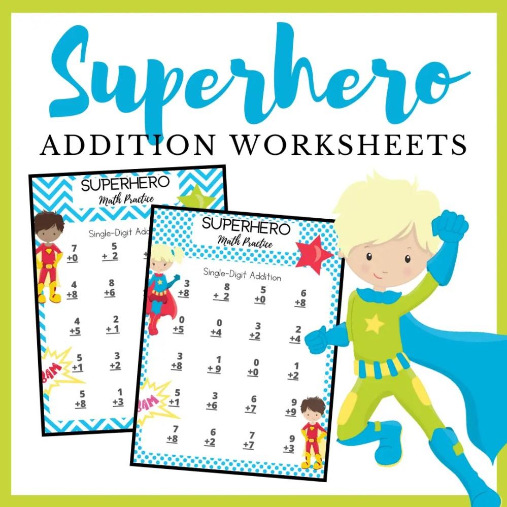 medium resolution of Free Printable Superhero Addition Worksheets
