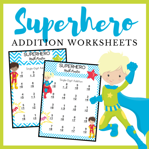 small resolution of Free Printable Superhero Addition Worksheets