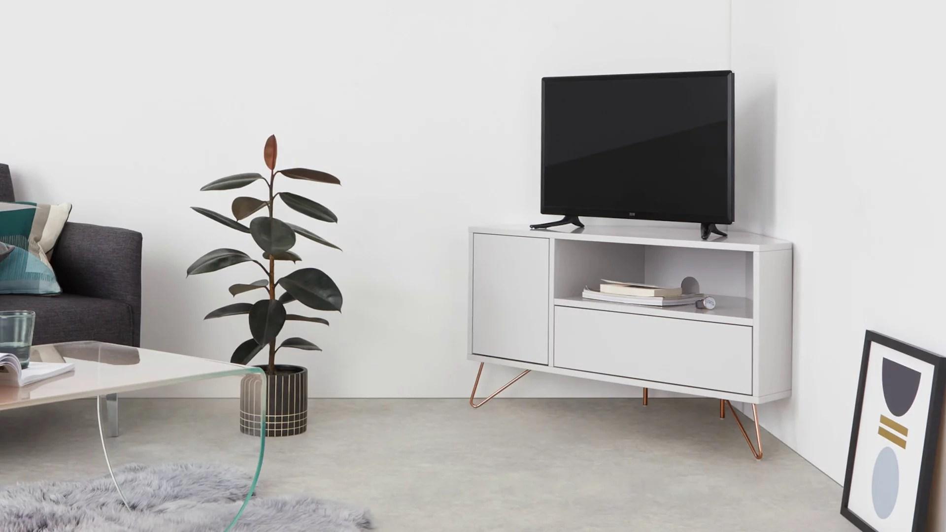 elona meuble tv d angle bleu canard et laiton