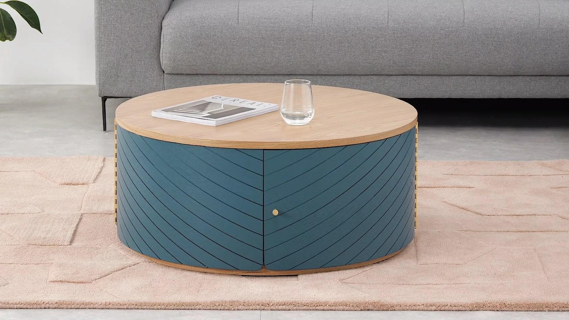 novak table basse frene et bleu canard