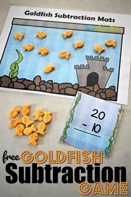 small resolution of FREE Goldfish Kindergarten Subtraction Game