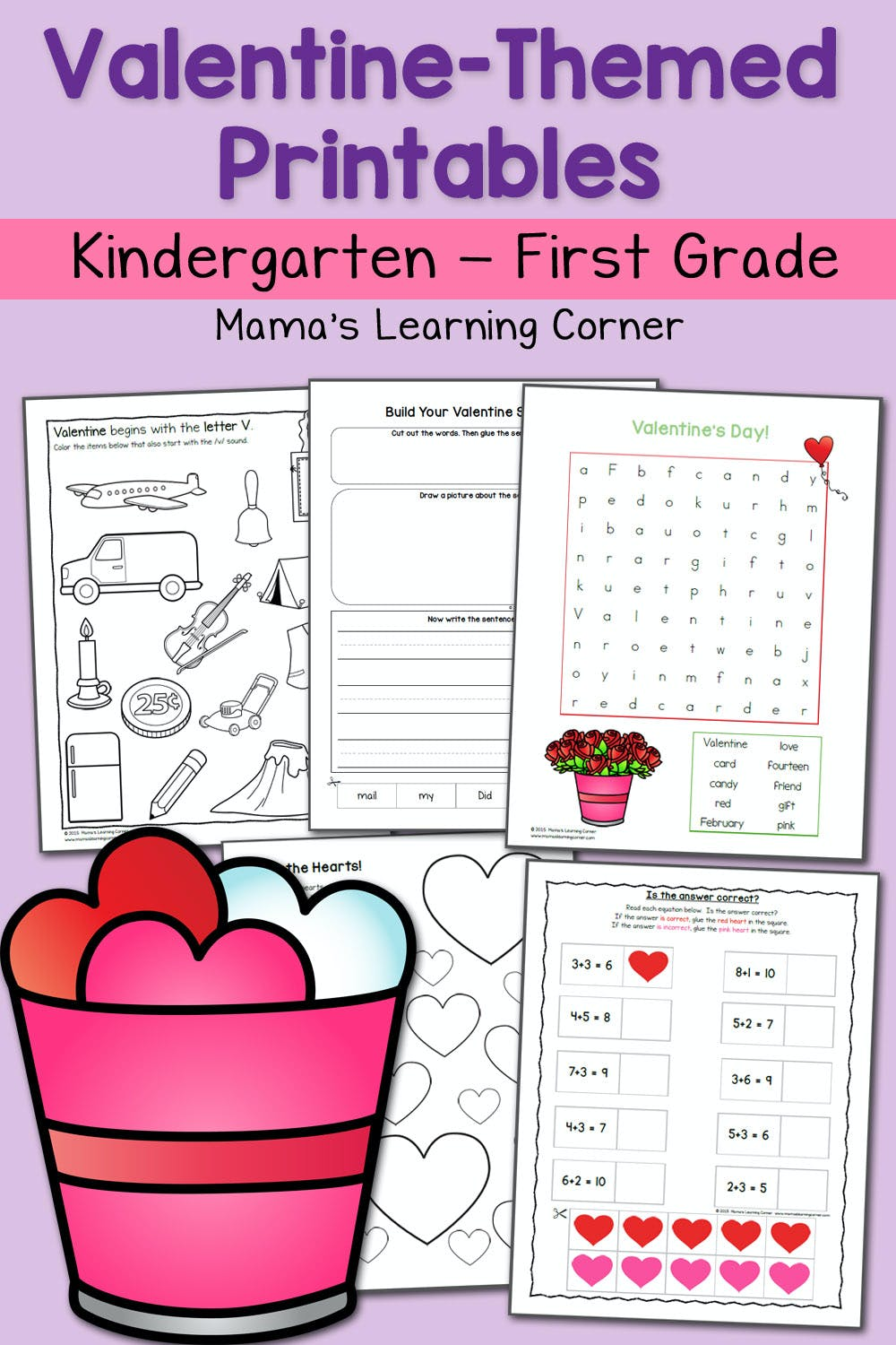 medium resolution of Valentine Worksheets for Kindergarten and First Grade - Mamas Learning  Corner