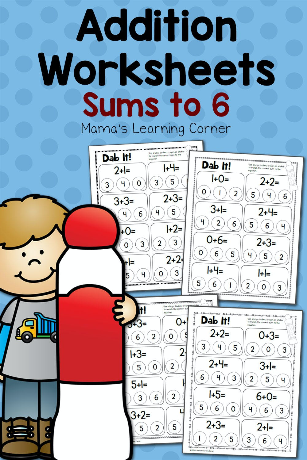 medium resolution of Dab It! Addition Worksheets - Sums to 6 - Mamas Learning Corner