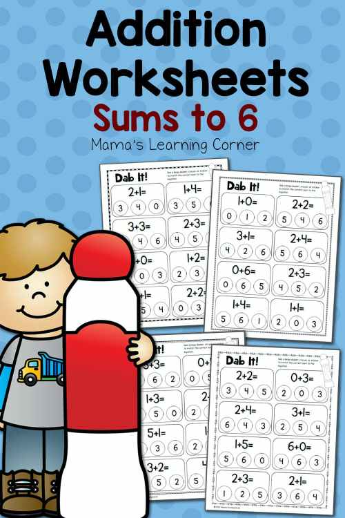 small resolution of Dab It! Addition Worksheets - Sums to 6 - Mamas Learning Corner