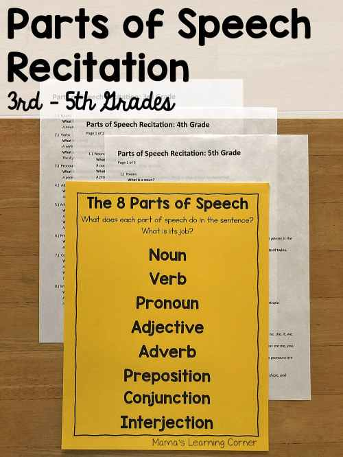 small resolution of Parts of Speech Recitation for 3rd through 5th Grades - Mamas Learning  Corner