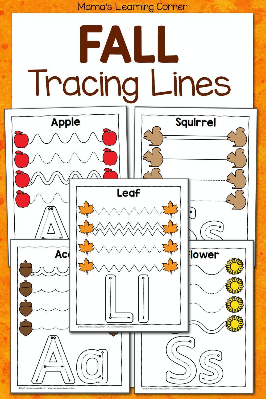 medium resolution of Fall Tracing Worksheets for Preschool - Mamas Learning Corner