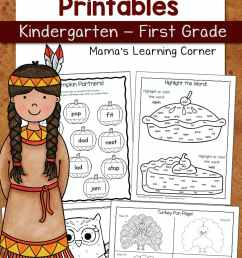 Thanksgiving Worksheets for Kindergarten and First Grade - Mamas Learning  Corner [ 1500 x 1000 Pixel ]