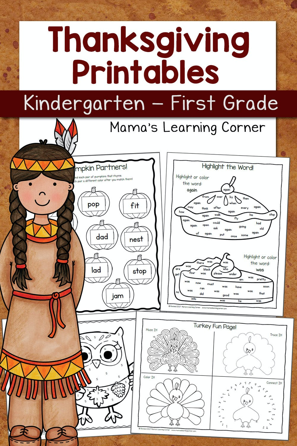 medium resolution of Thanksgiving Worksheets for Kindergarten and First Grade - Mamas Learning  Corner