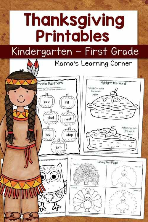 small resolution of Thanksgiving Worksheets for Kindergarten and First Grade - Mamas Learning  Corner