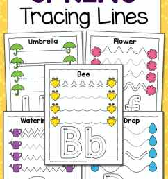 Spring Tracing Worksheets for Preschool - Mamas Learning Corner [ 1500 x 1000 Pixel ]