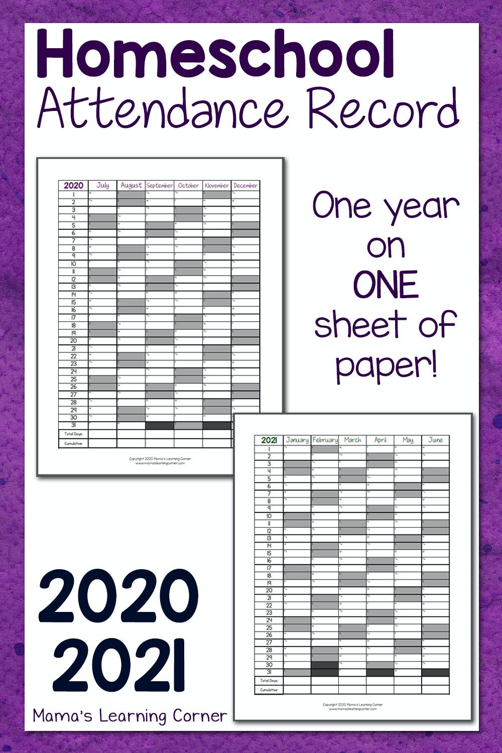 hight resolution of Homeschool Attendance Record 2020-2021 - Mamas Learning Corner