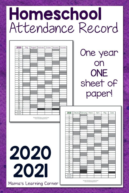 small resolution of Homeschool Attendance Record 2020-2021 - Mamas Learning Corner