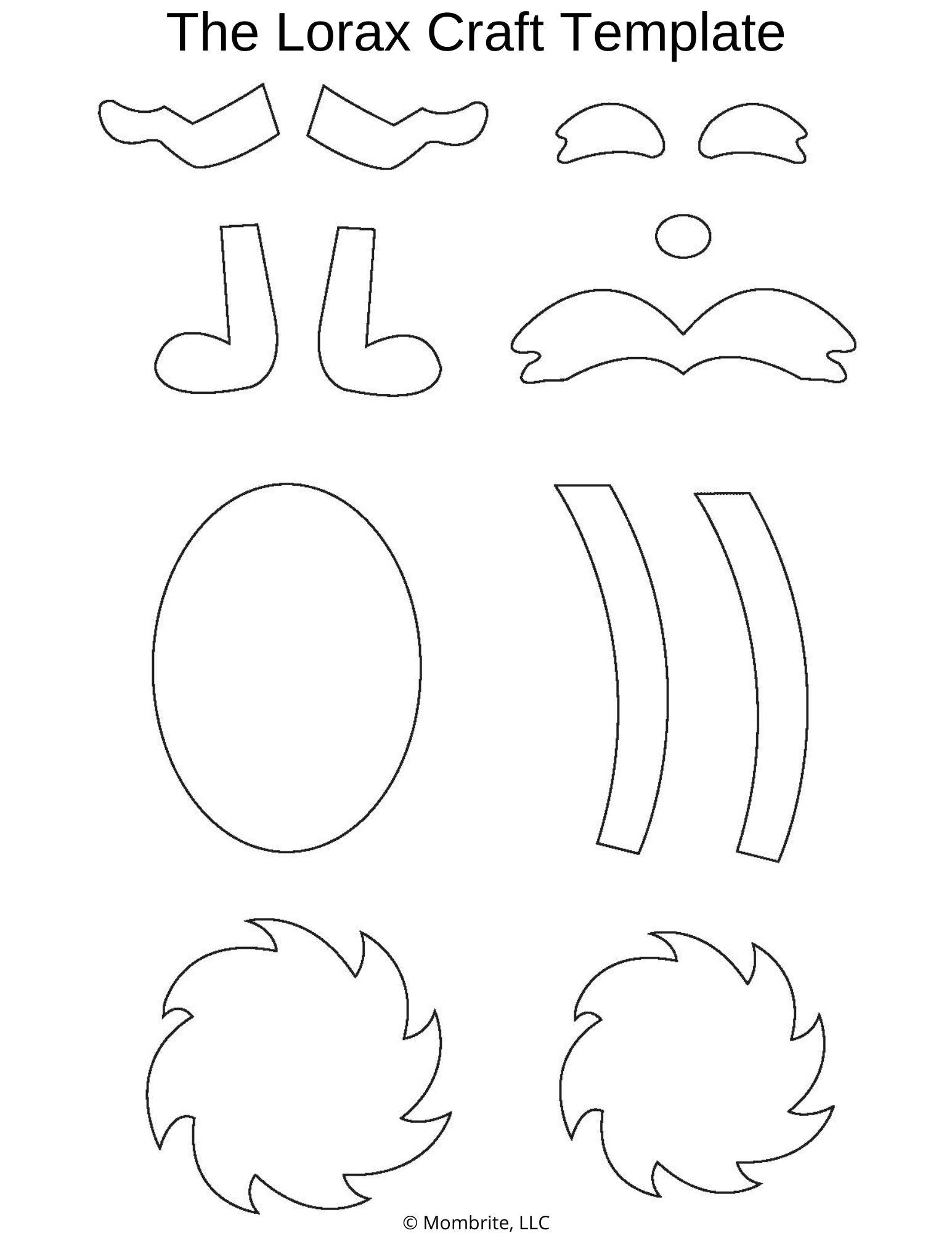 Lorax Mustache And Eyebrows : lorax, mustache, eyebrows, Lorax, Seuss, Craft, [Free, Template], Mombrite
