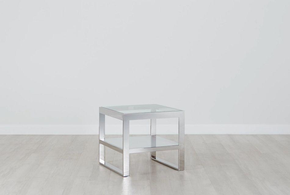 miami white glass end table
