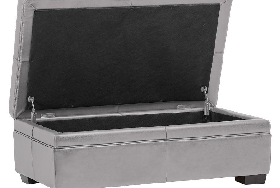 carson gray leather storage ottoman