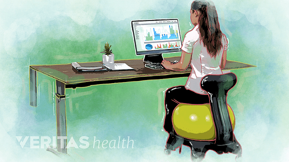 best office chair after spinal fusion recliner australia 5 unusual solutions to help your back illustration of a woman using an exercise ball with base at desk