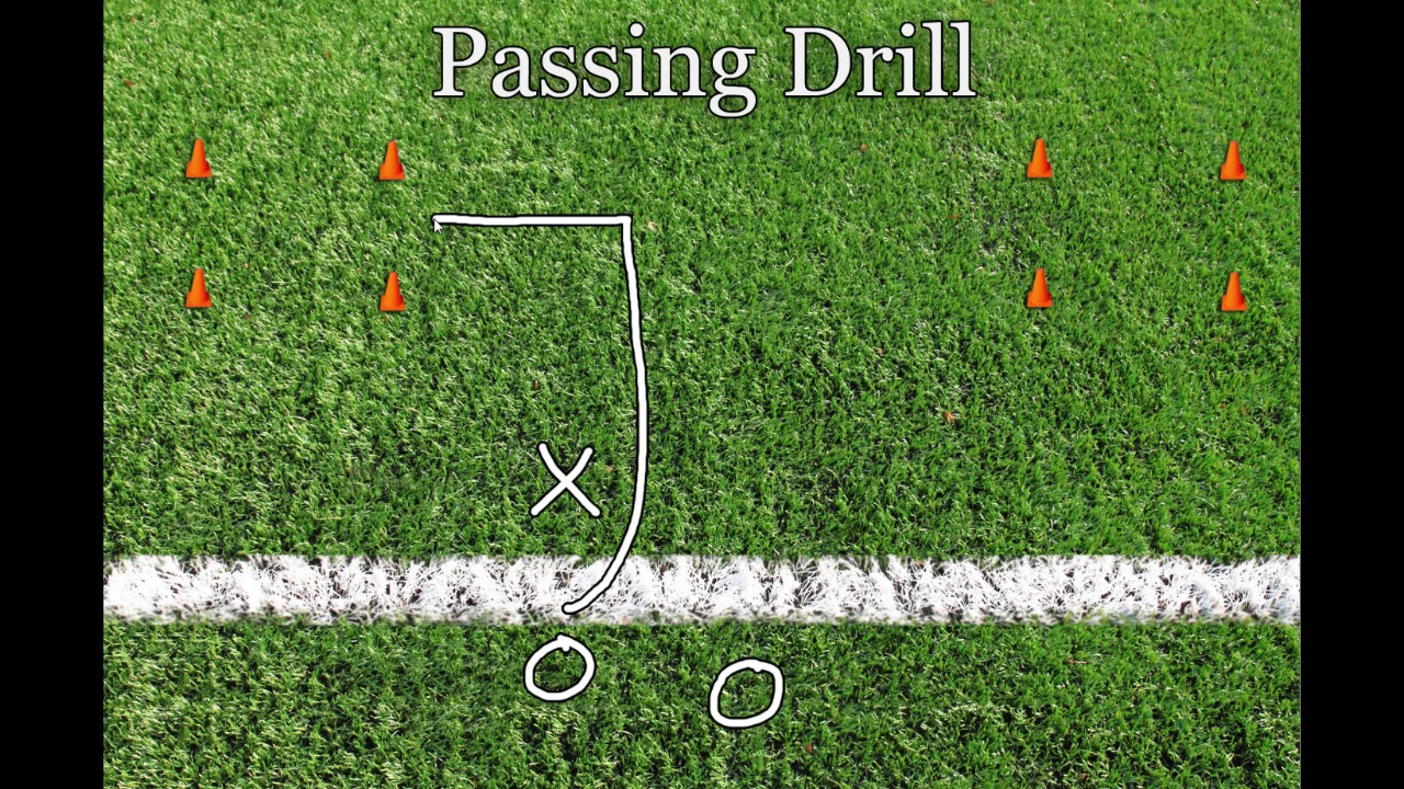 in this drill you ll mark off a couple areas on the field with cones the goal is for the receiver to catch the ball inside one of these areas  [ 1280 x 720 Pixel ]