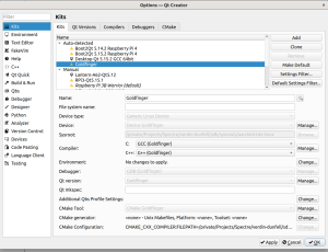 QtCreator shows the kit Goldfinger that you just created with the script configure-qtcreator.sh