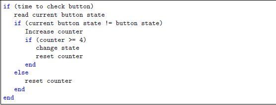 Software Debouncing of buttons - Embedds