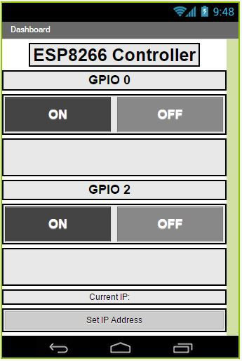 Control ESP8266 GPIOs with Android