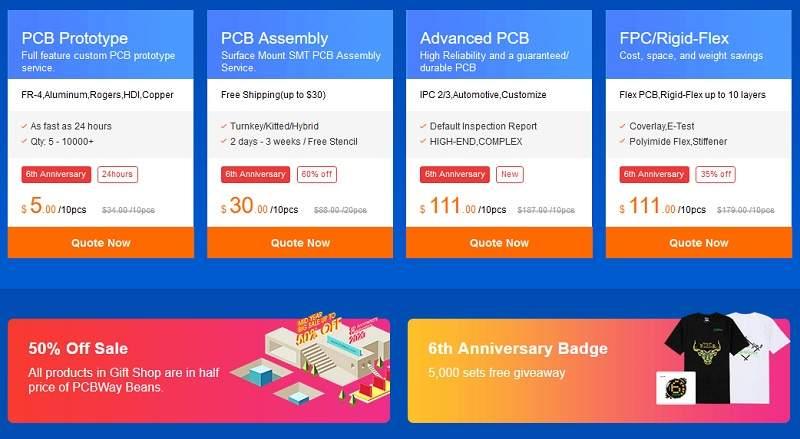 PCBWay Anniversary sale