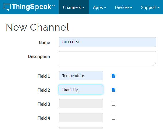 create ThingSpeak Channel