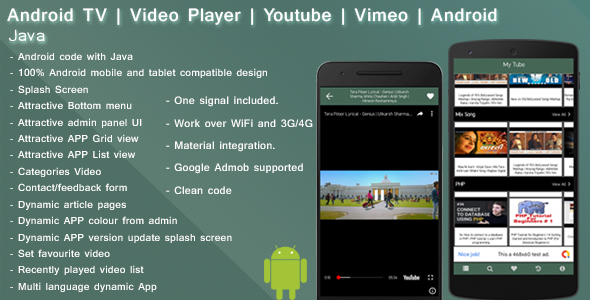 Android TV   Live TV   Video Player   Youtube   Vimeo   Daily motion