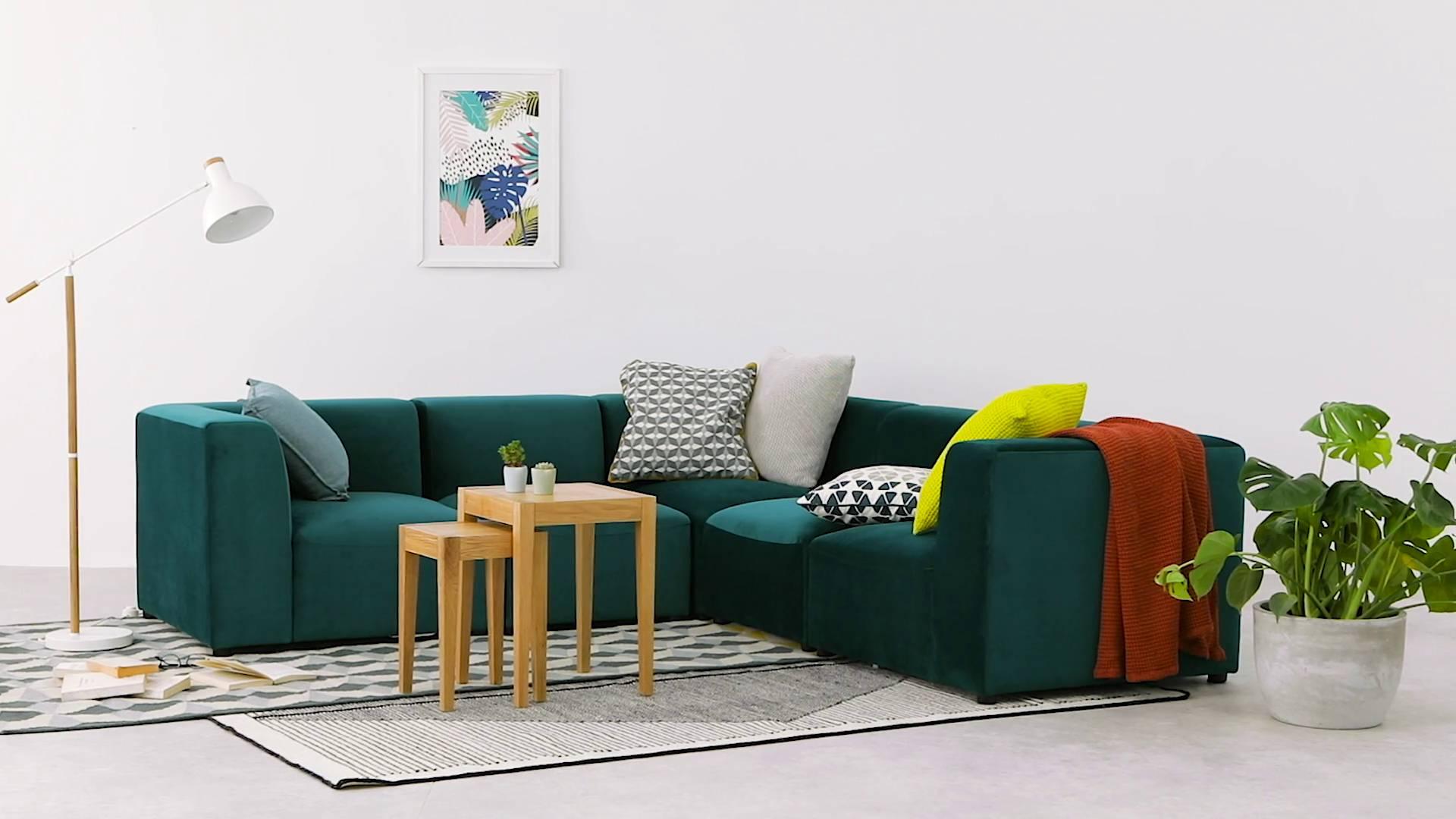 modular sofas ireland sofa tucson juno 5 seater corner seafoam blue velvet made com video thumbnail