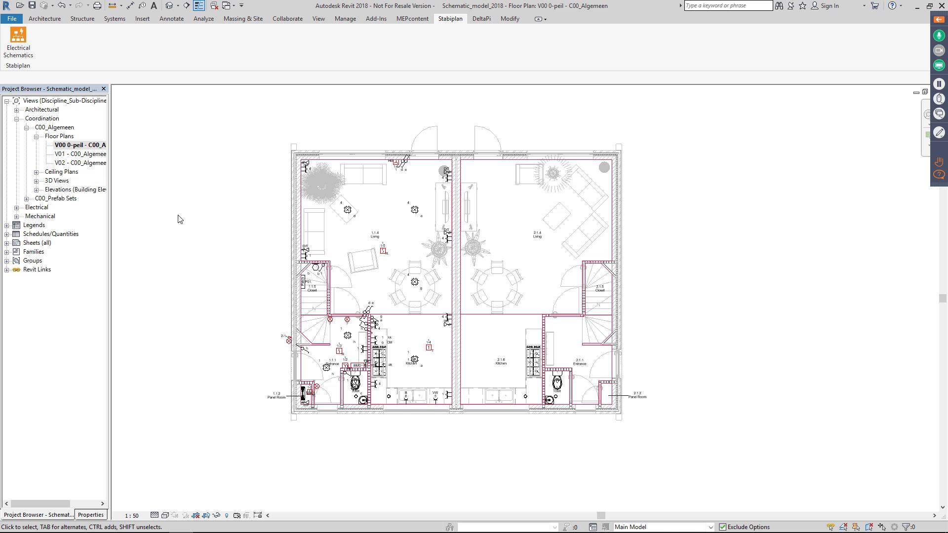 hight resolution of electrical plan revit