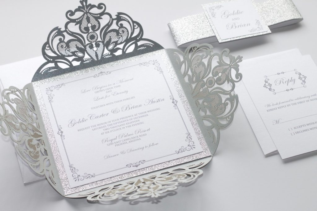 New Laser Cut Wedding Invitation In White & Silver