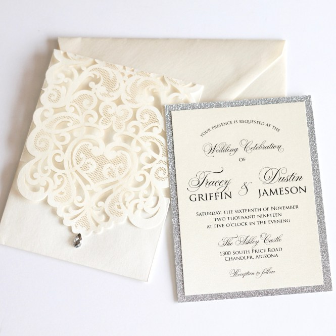 Tracey Ivory And Silver Laser Cut Invitation Embellished