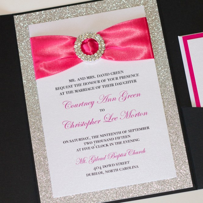 Glitter Wedding Invitation Black Silver And Hot Pink