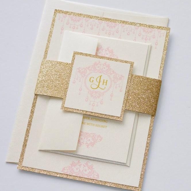Gemma Ivory Pink Gold Glitter Wedding Invitation