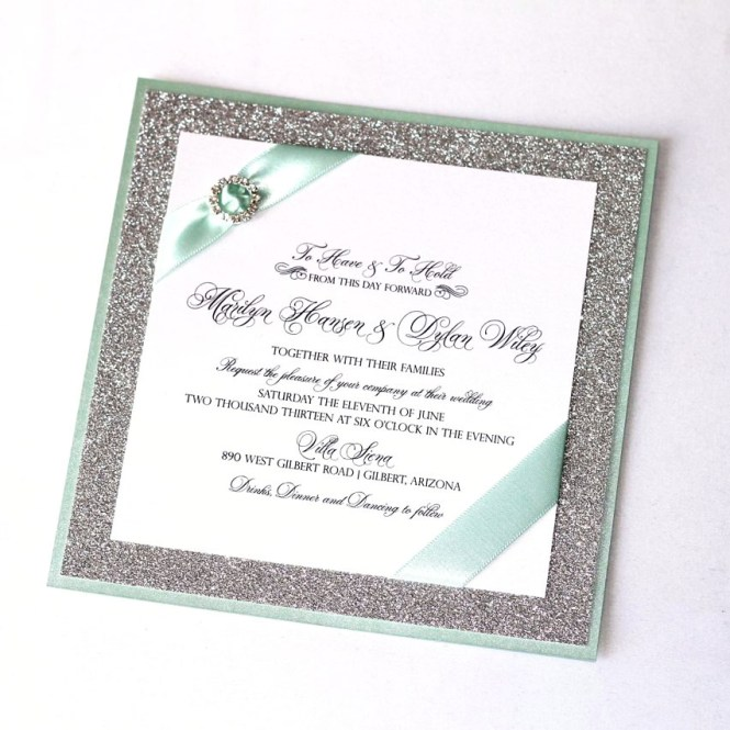 Marilyn Wedding Invitation White Mint Green And Silver Glitter