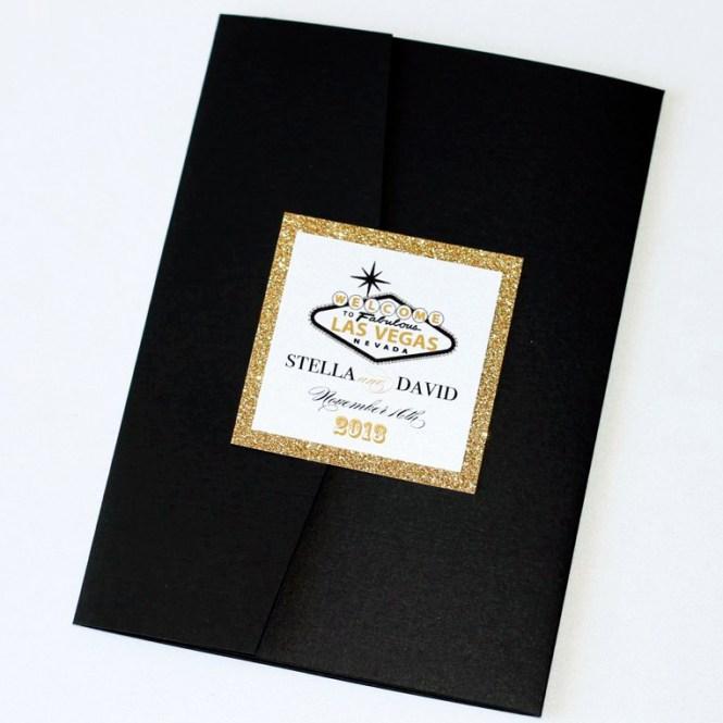 Stella Las Vegas Wedding Invitation Gold Glitter