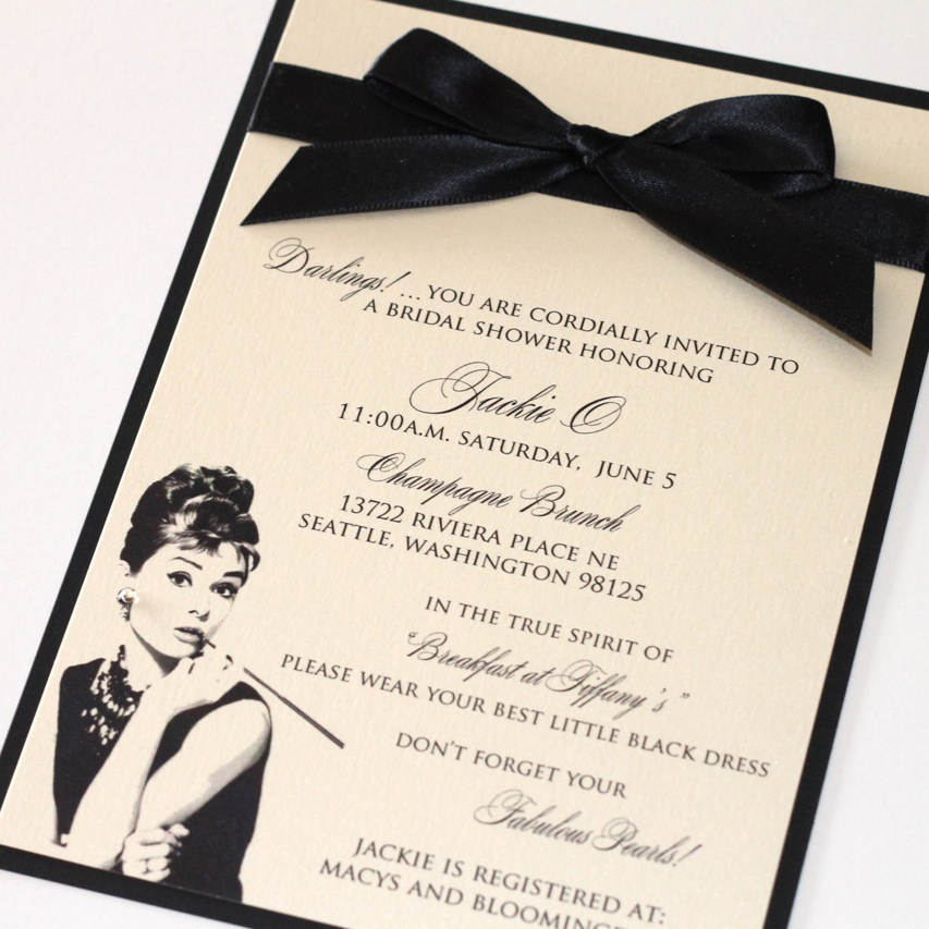 Customize and personalize it any way you would like! Audrey Hepburn Bridal Shower Invitation Embellished Paperie Llc