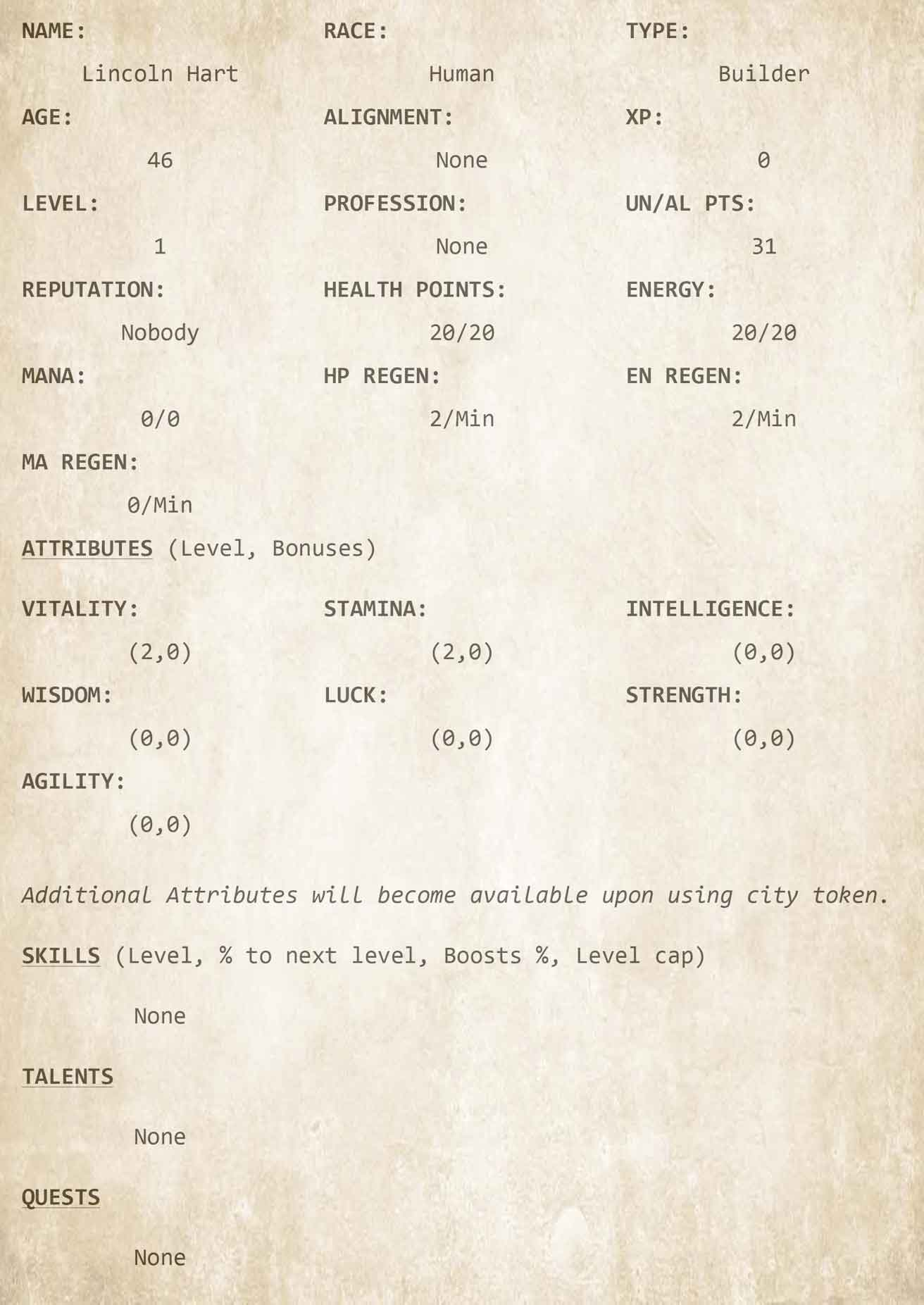 Chapter 2 - Character Sheet 1