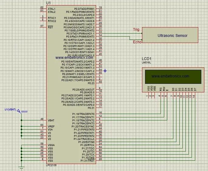 lpc2148 ultrasonic sensor