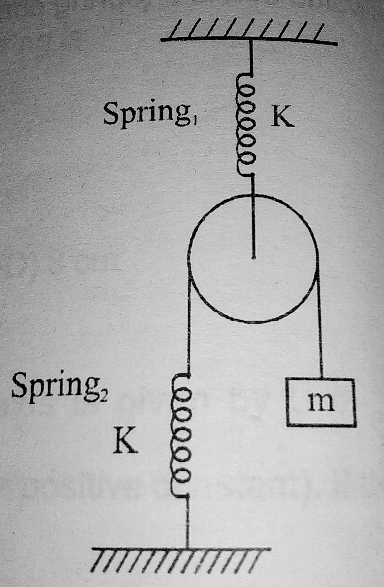 hight resolution of i have tried drawing a free body diagram supposing x elongation in spring 1 x elongation in spring 2