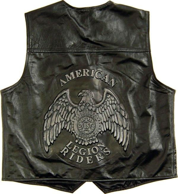 Legion Riders Leather Vest - American Flag & Emblem