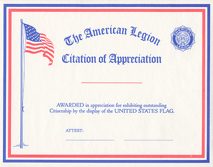 Flag Citation Of Appreciation American Legion Flag Amp Emblem