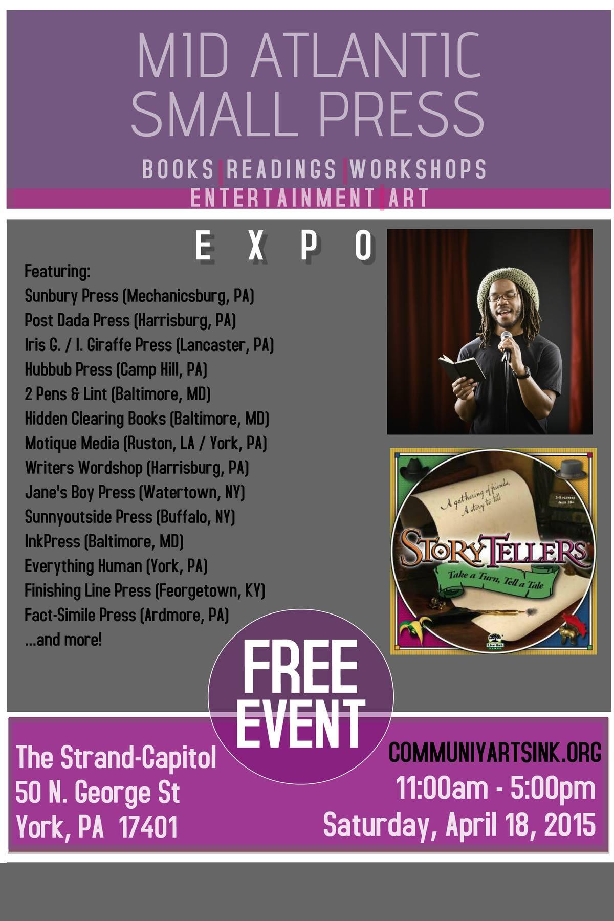 Saturday April 18th Mid Atlantic Region Small Press Expo