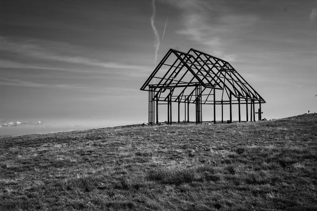 house frame black and white
