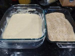 pancake batter and bread crumb mixture