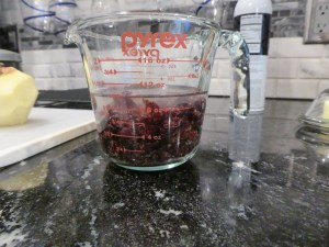 dried cranberries in water